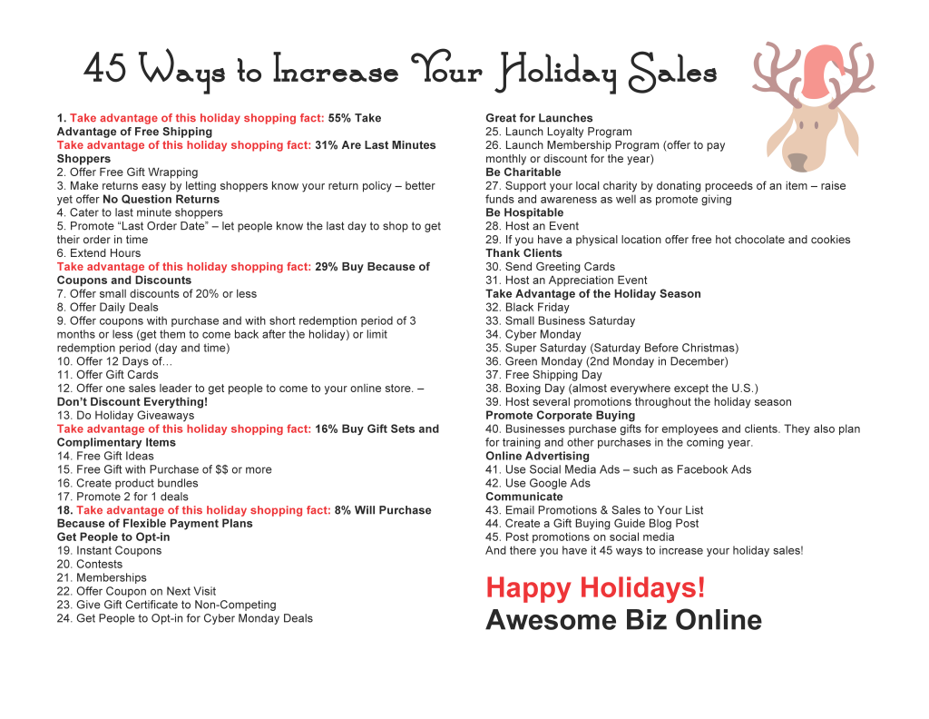 Free Download 45 Ways to Increase Holiday Sales Online